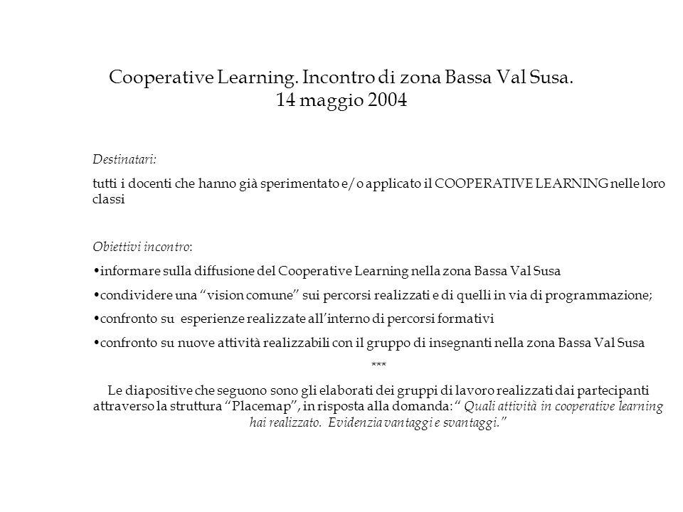 Cooperative Learning. Incontro di zona Bassa Val Susa. 14 maggio 2004