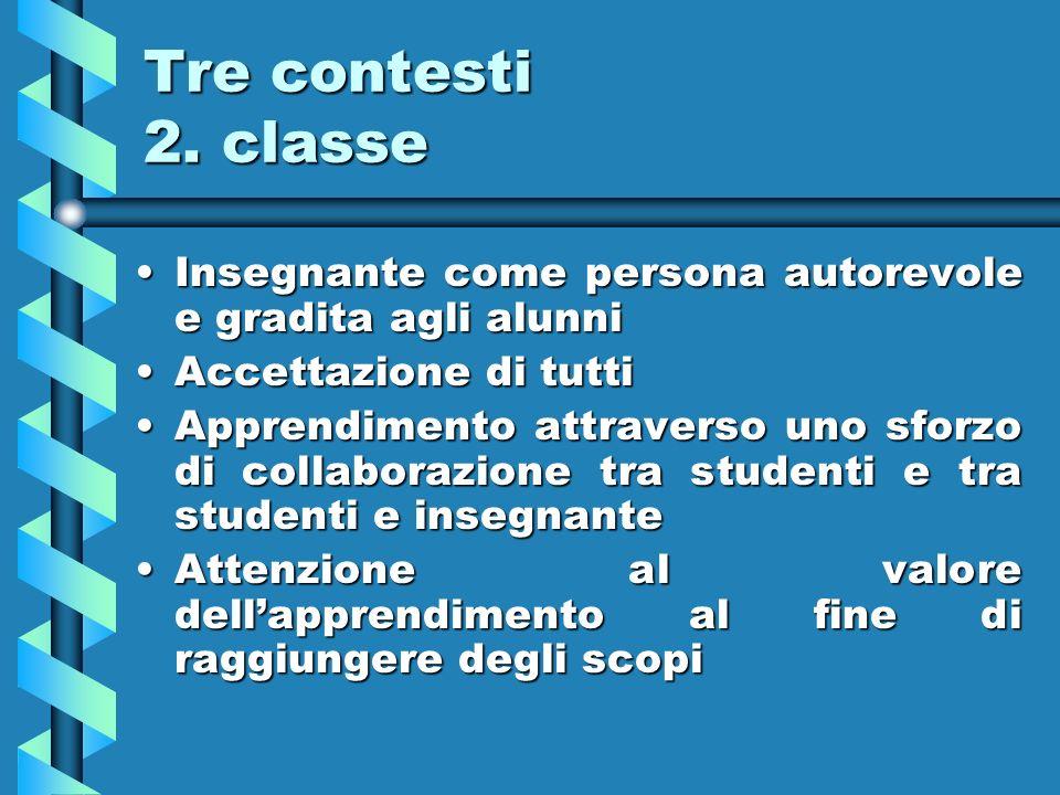 Tre contesti 2. classe Insegnante come persona autorevole e gradita agli alunni. Accettazione di tutti.
