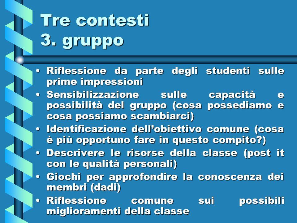 Tre contesti 3. gruppo Riflessione da parte degli studenti sulle prime impressioni.