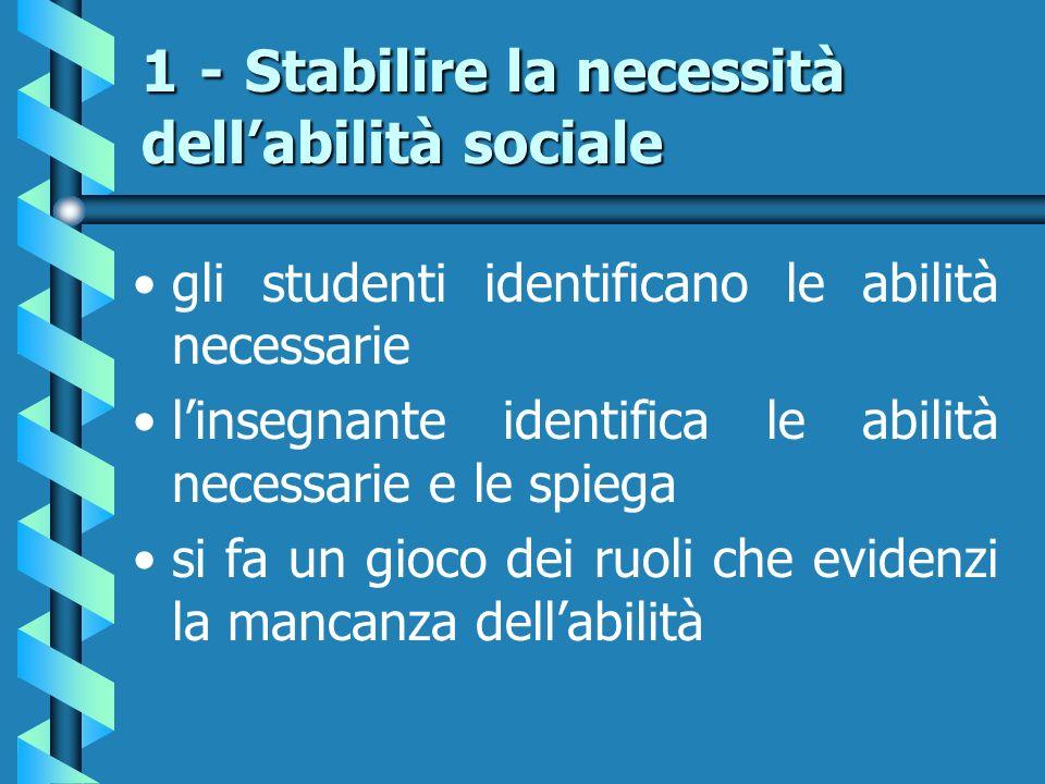 1 - Stabilire la necessità dell'abilità sociale