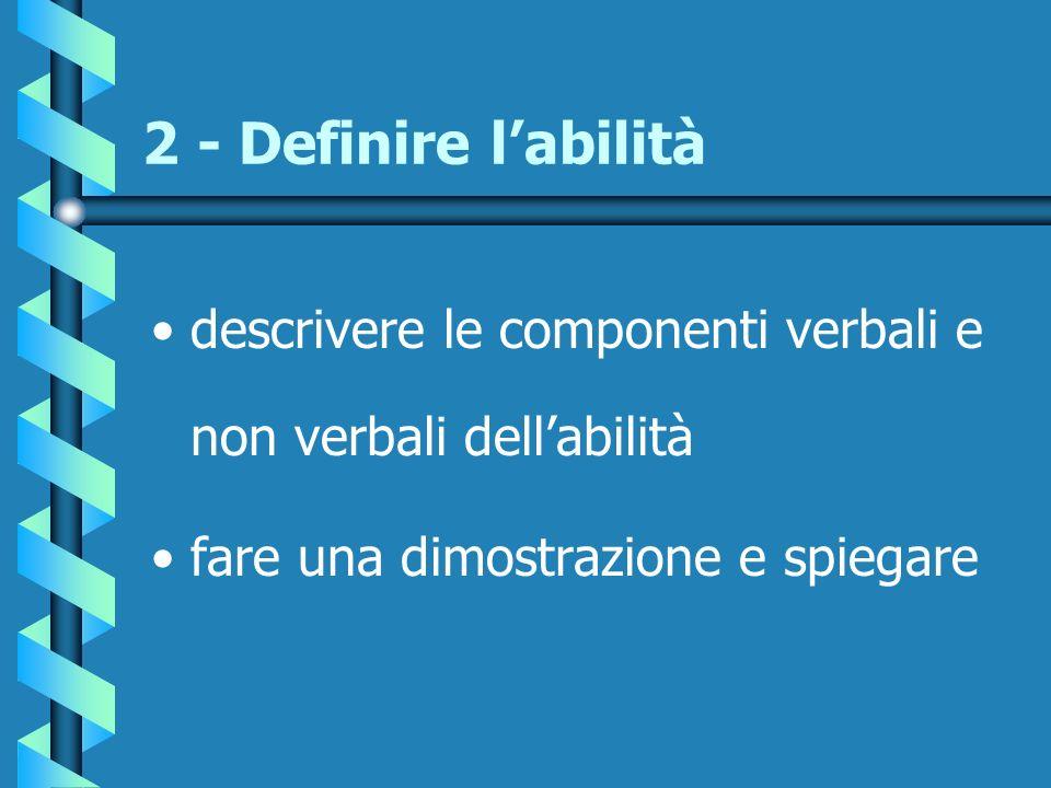 2 - Definire l'abilità descrivere le componenti verbali e non verbali dell'abilità.