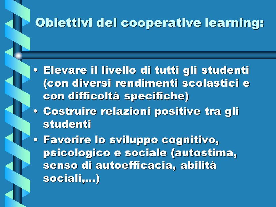 Obiettivi del cooperative learning: