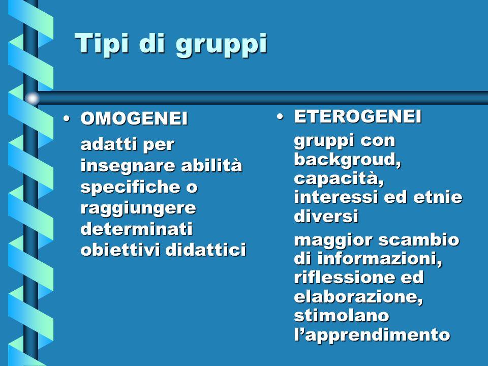 Tipi di gruppi OMOGENEI