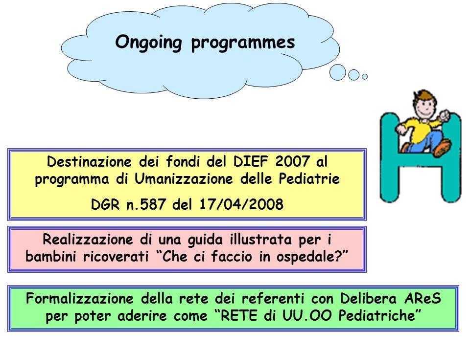Ongoing programmes Destinazione dei fondi del DIEF 2007 al programma di Umanizzazione delle Pediatrie.