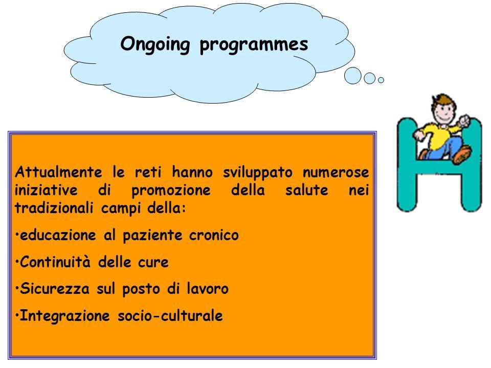 Ongoing programmes Attualmente le reti hanno sviluppato numerose iniziative di promozione della salute nei tradizionali campi della: