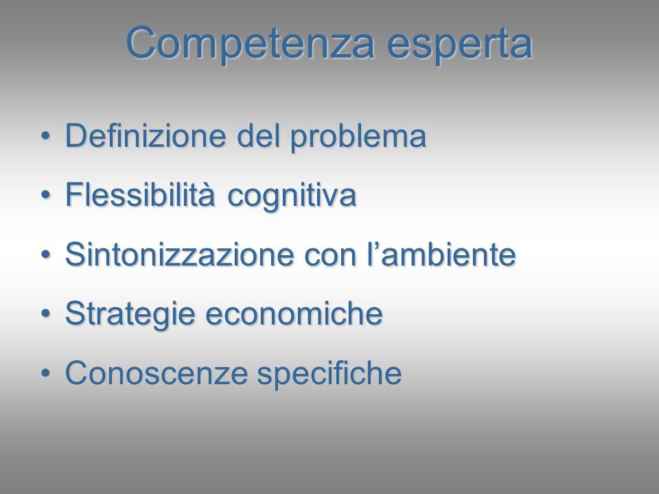 Competenza esperta Definizione del problema Flessibilità cognitiva