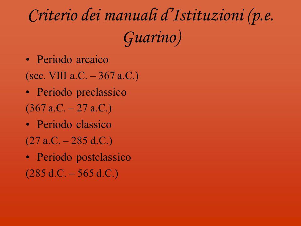 Criterio dei manuali d'Istituzioni (p.e. Guarino)