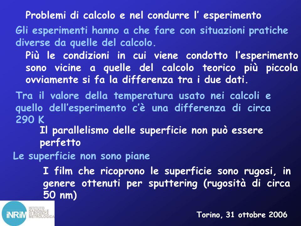 Problemi di calcolo e nel condurre l' esperimento
