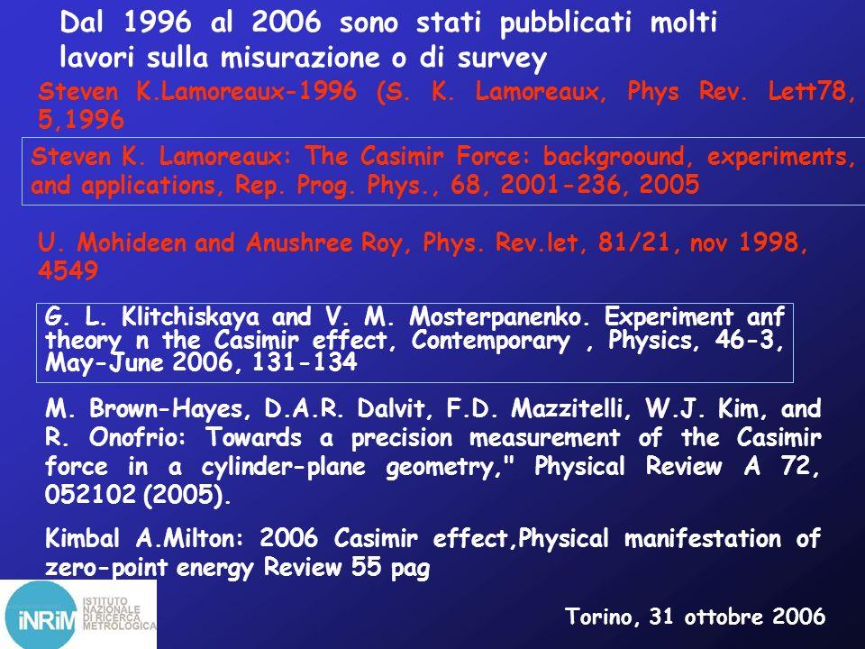 Dal 1996 al 2006 sono stati pubblicati molti lavori sulla misurazione o di survey