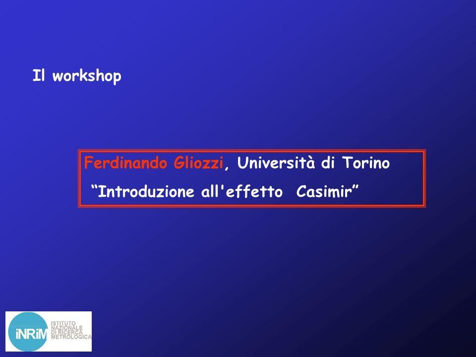 Il workshop Ferdinando Gliozzi, Università di Torino Introduzione all effetto Casimir