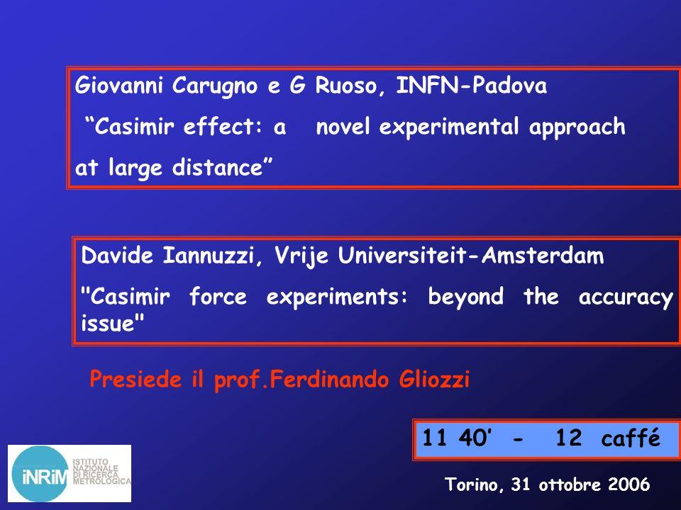 Giovanni Carugno e G Ruoso, INFN-Padova