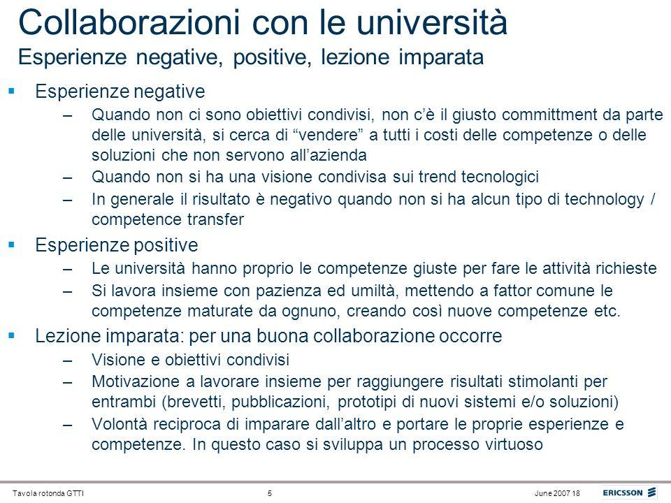 Collaborazioni con le università Esperienze negative, positive, lezione imparata