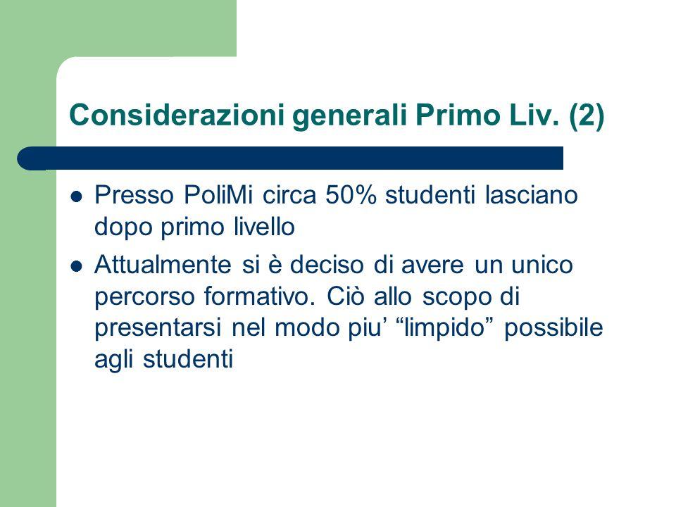 Considerazioni generali Primo Liv. (2)