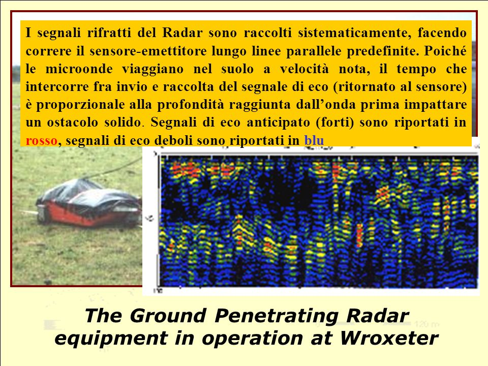 The Ground Penetrating Radar equipment in operation at Wroxeter