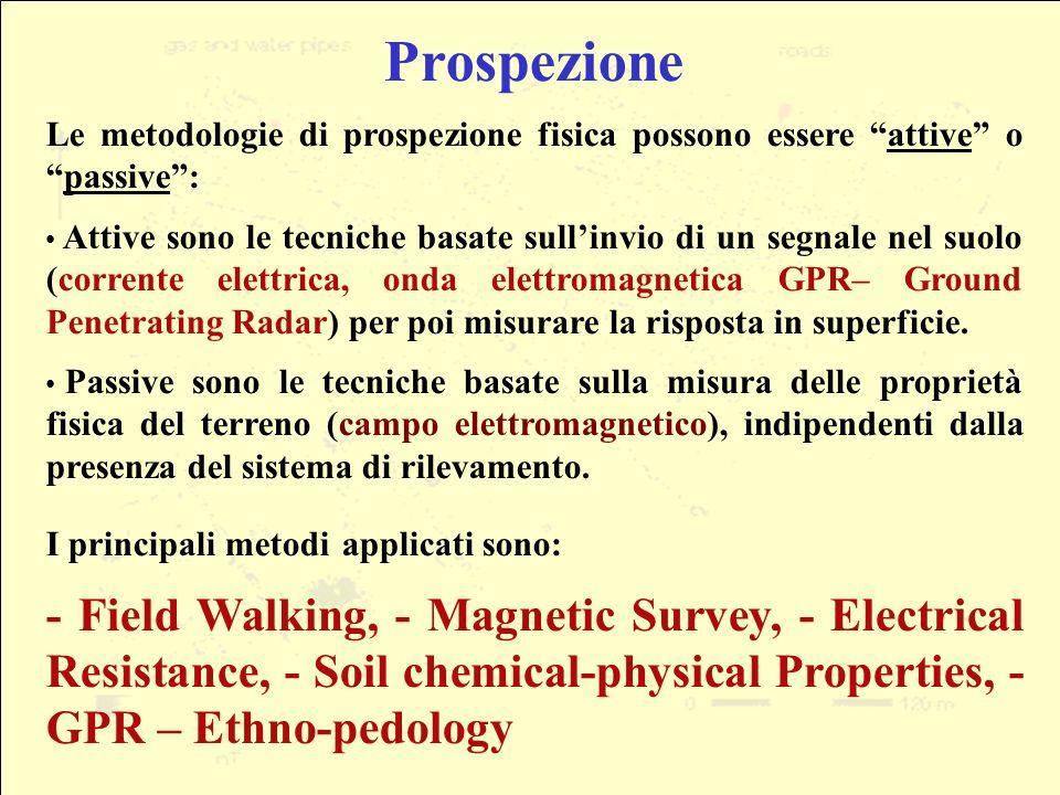 Prospezione Le metodologie di prospezione fisica possono essere attive o passive :
