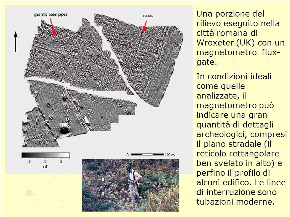 Una porzione del rilievo eseguito nella città romana di Wroxeter (UK) con un magnetometro flux-gate.