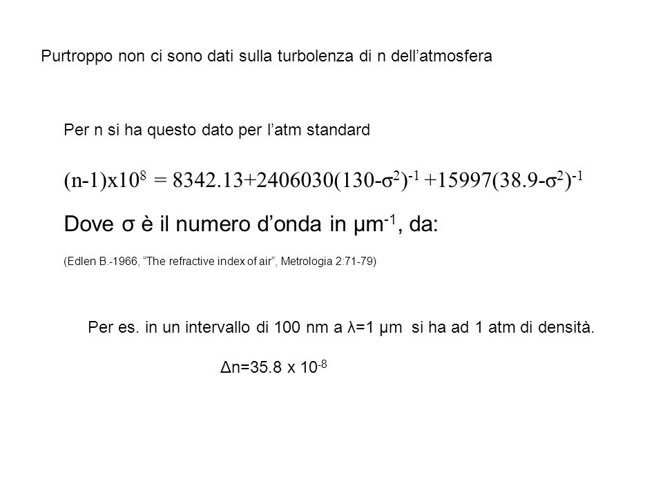 Dove σ è il numero d'onda in µm-1, da: