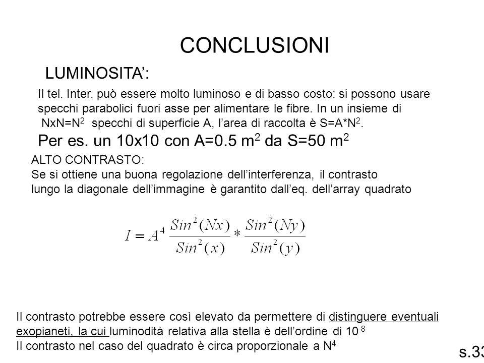 conclusioni LUMINOSITA': Per es. un 10x10 con A=0.5 m2 da S=50 m2 s.33