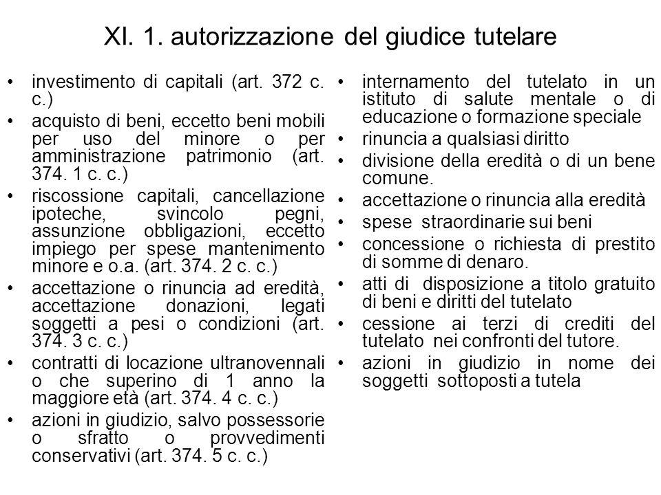 XI. 1. autorizzazione del giudice tutelare