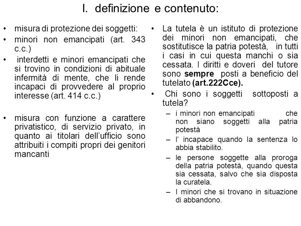 I. definizione e contenuto: