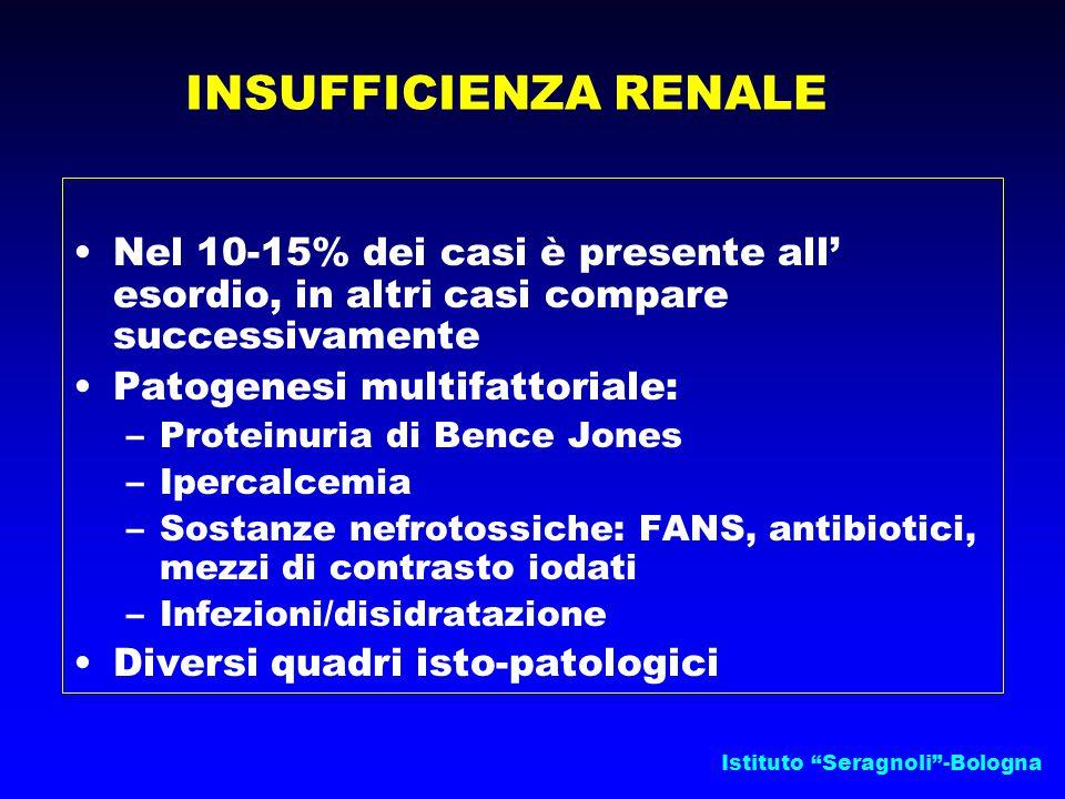 INSUFFICIENZA RENALE Nel 10-15% dei casi è presente all' esordio, in altri casi compare successivamente.