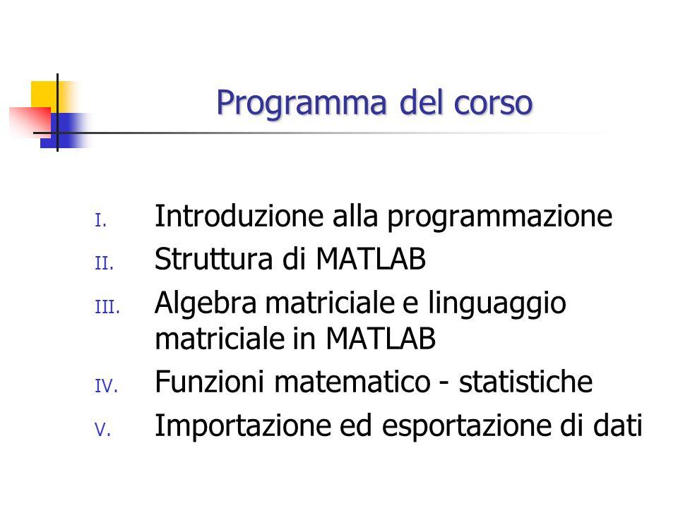 Programma del corso Introduzione alla programmazione