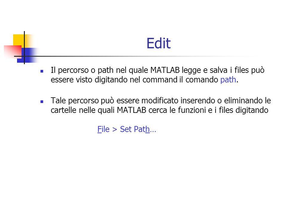Edit Il percorso o path nel quale MATLAB legge e salva i files può essere visto digitando nel command il comando path.