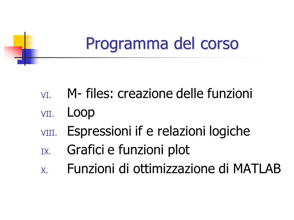 Programma del corso M- files: creazione delle funzioni Loop
