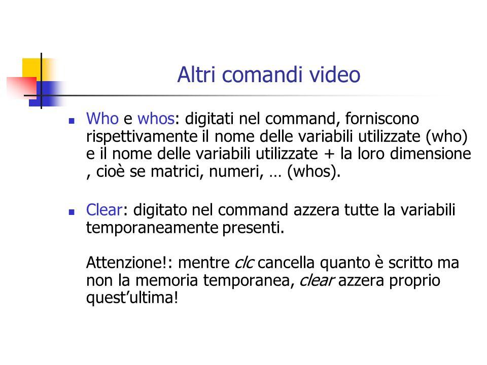 Altri comandi video