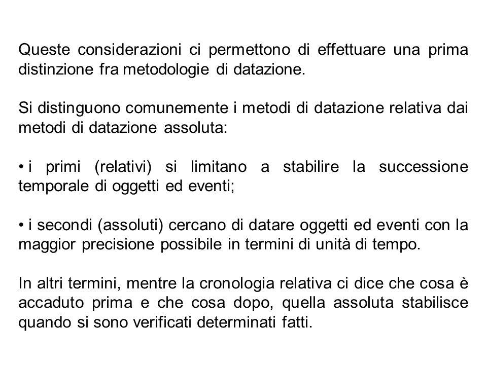 Queste considerazioni ci permettono di effettuare una prima distinzione fra metodologie di datazione.