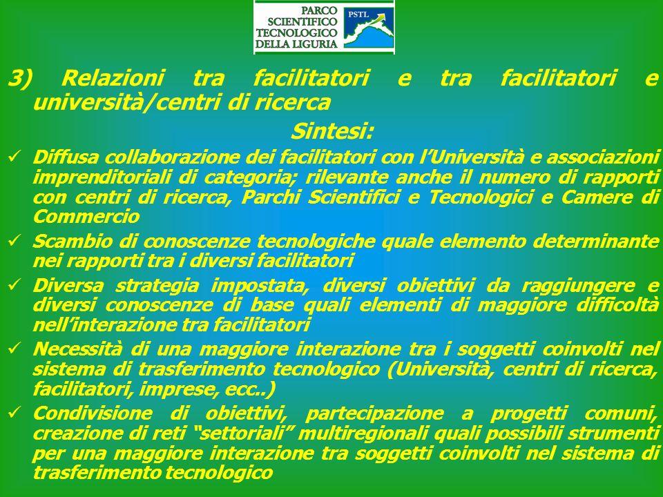 3) Relazioni tra facilitatori e tra facilitatori e università/centri di ricerca