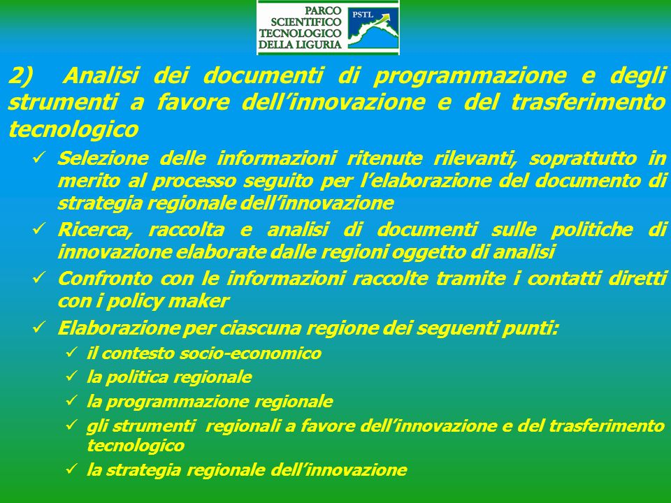 2) Analisi dei documenti di programmazione e degli strumenti a favore dell'innovazione e del trasferimento tecnologico