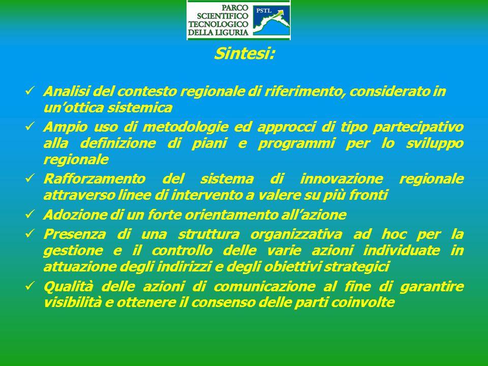 Sintesi: Analisi del contesto regionale di riferimento, considerato in un'ottica sistemica.