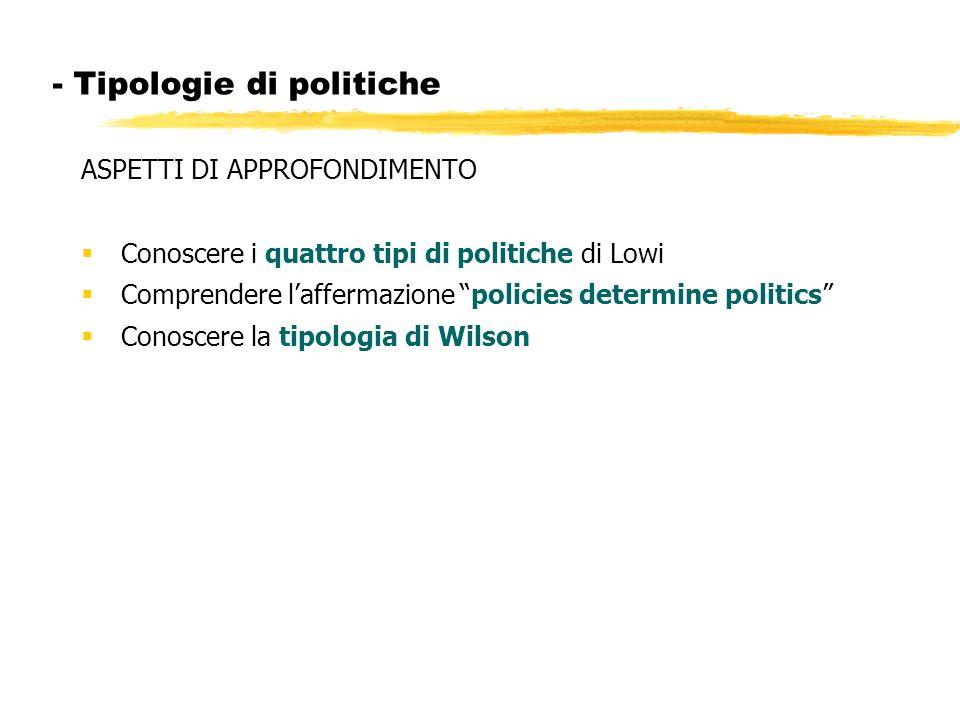 - Tipologie di politiche
