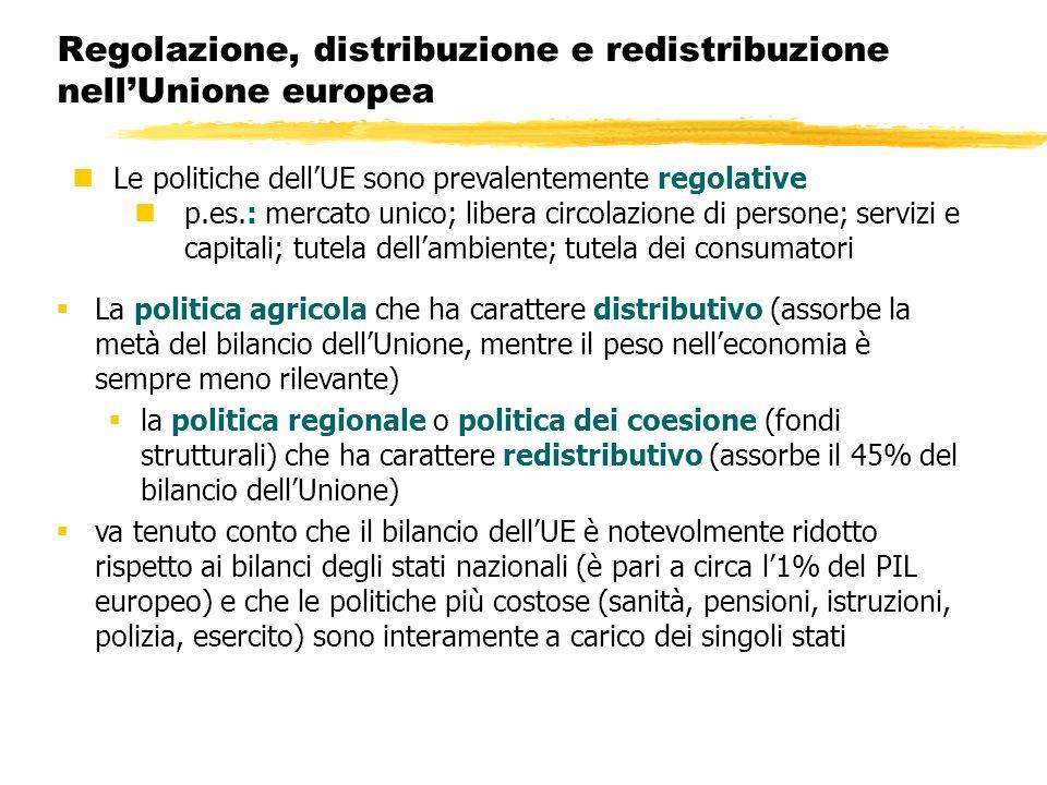 Regolazione, distribuzione e redistribuzione nell'Unione europea