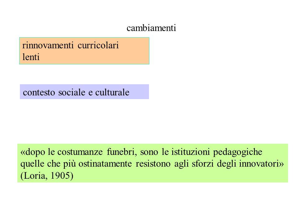 cambiamenti rinnovamenti curricolari. lenti. contesto sociale e culturale.