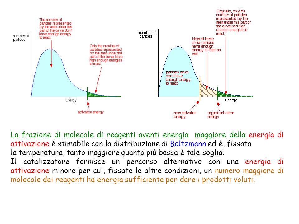 La frazione di molecole di reagenti aventi energia maggiore della energia di attivazione è stimabile con la distribuzione di Boltzmann ed è, fissata