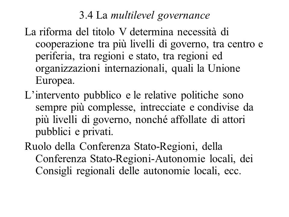 3.4 La multilevel governance