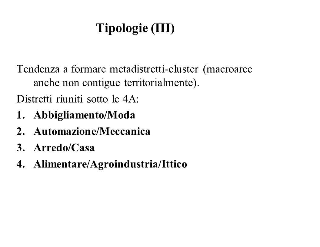 Tipologie (III) Tendenza a formare metadistretti-cluster (macroaree anche non contigue territorialmente).