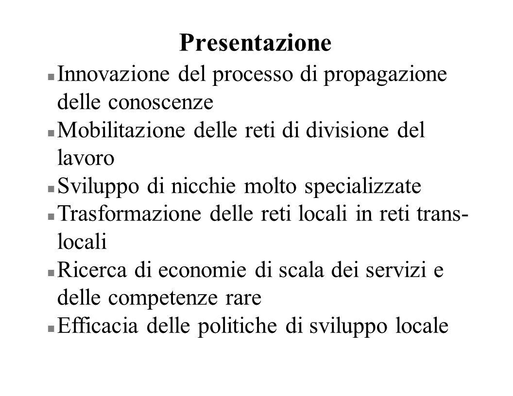 Presentazione Innovazione del processo di propagazione delle conoscenze. Mobilitazione delle reti di divisione del lavoro.