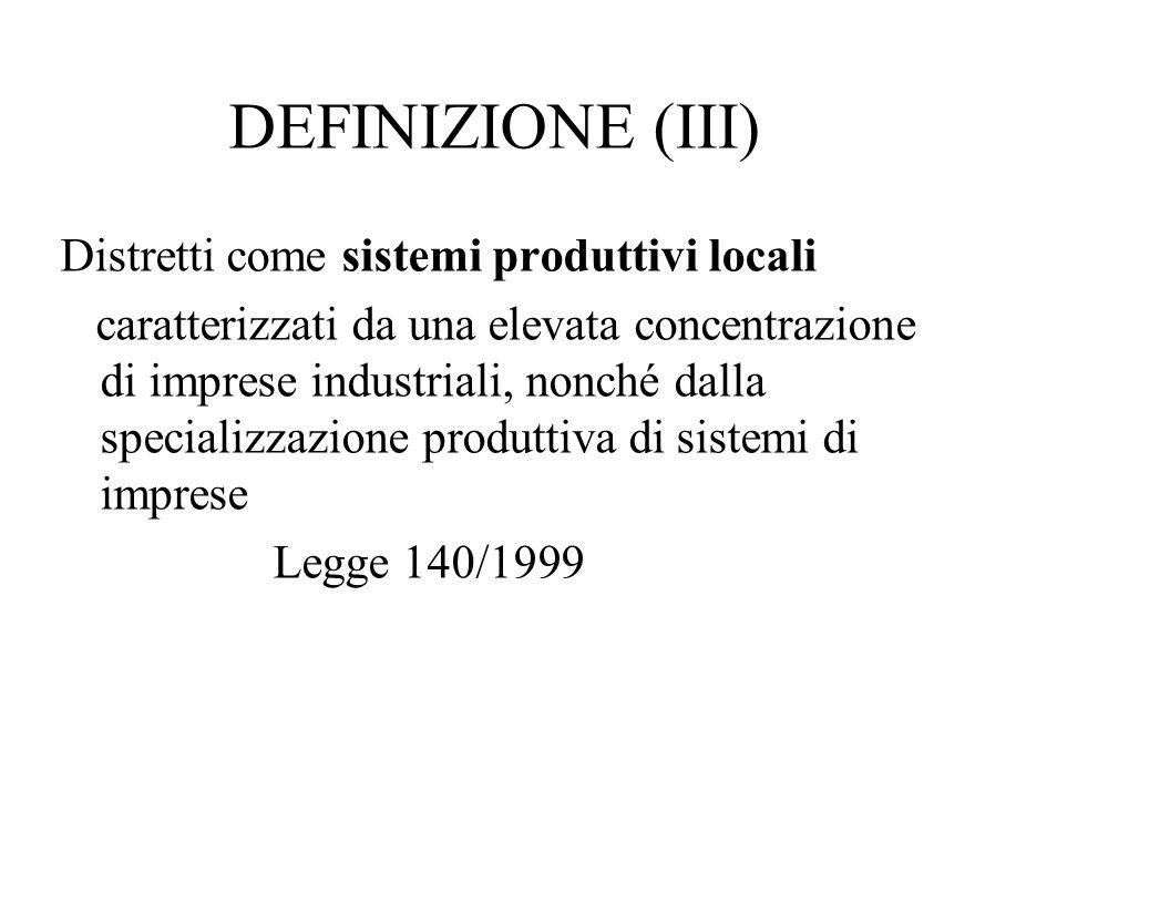 DEFINIZIONE (III) Distretti come sistemi produttivi locali