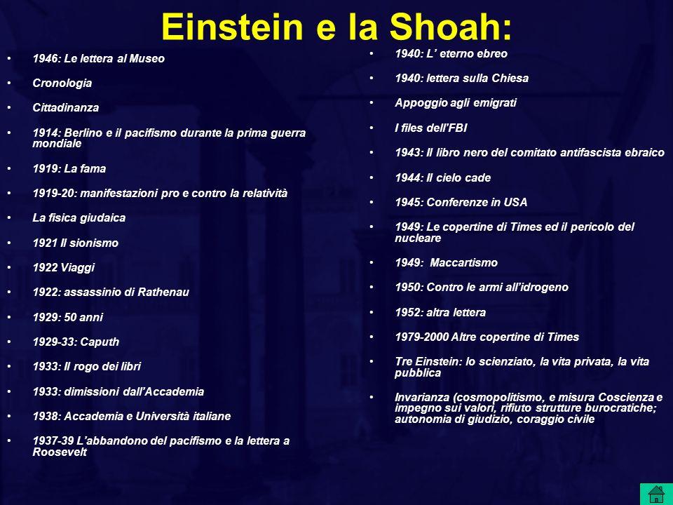 Einstein e la Shoah: 1940: L' eterno ebreo 1946: Le lettera al Museo