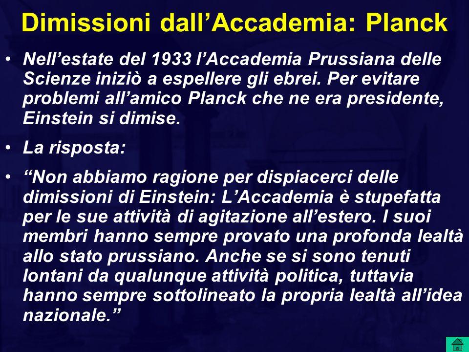 Dimissioni dall'Accademia: Planck