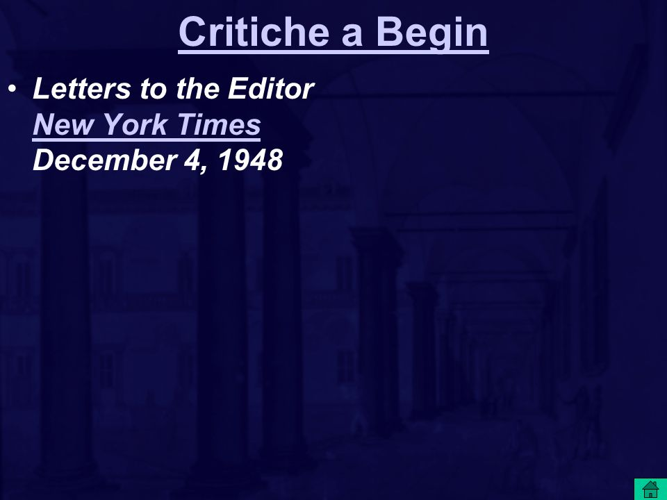 Critiche a Begin Letters to the Editor New York Times December 4, 1948