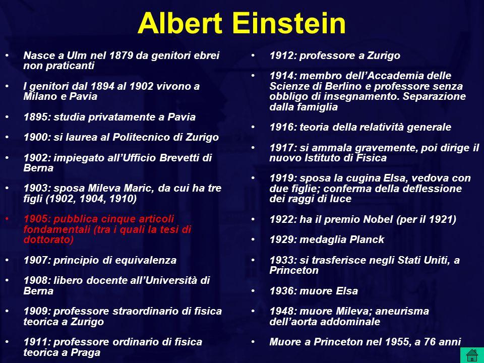Albert Einstein Nasce a Ulm nel 1879 da genitori ebrei non praticanti