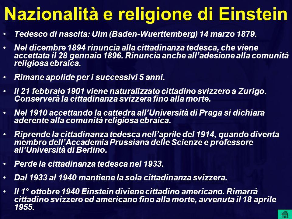 Nazionalità e religione di Einstein
