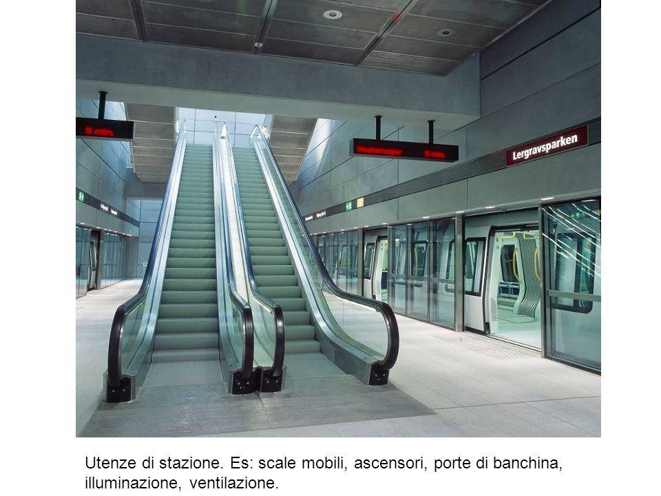 Utenze di stazione. Es: scale mobili, ascensori, porte di banchina, illuminazione, ventilazione.