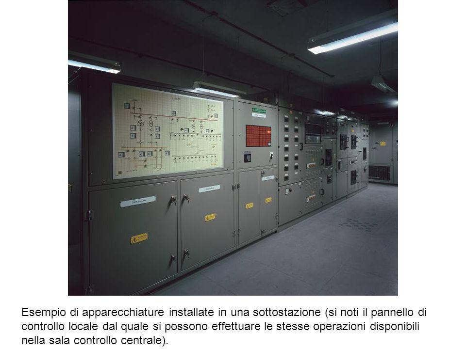 Esempio di apparecchiature installate in una sottostazione (si noti il pannello di controllo locale dal quale si possono effettuare le stesse operazioni disponibili nella sala controllo centrale).