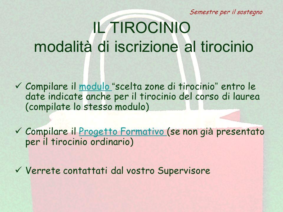 IL TIROCINIO modalità di iscrizione al tirocinio