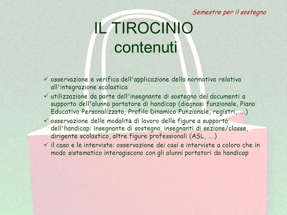 IL TIROCINIO contenuti